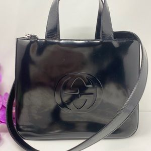 Preowned Authentic Black GG Gucci Tote With Strap